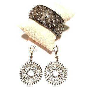 Express rhinestone boho earrings & bracelet